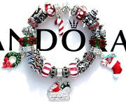 Authentic Pandora Silver Charm Bracelet With Charms Christmas Spirit Ee93