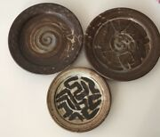 3ART STUDIO POTTERY PLATES Brown Cream ABSTRACT MCM SIGNED STAMPED MYSTERYARTIST