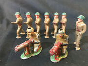 Lot Of 9 Old Vtg Lead Military Soldier Toy Train Garden Figure Military