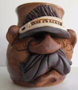 Studio Art Pottery WILD MAN Mug Stoneware 3D Funny Face Mustache Cup Signed