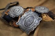 Navajo Sterling Silver Concho Leather Belt