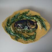 French Majolica Cockerels With Corn Platter