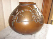 Signed Clewell Art Pottery Bulbous VASE Water Lily Copper Clad Arts Crafts