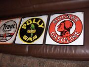Lot Of 3 Mohawk - Polly - Tydol 17 Vinyl Gas And Oil Banner Made In The Usa New