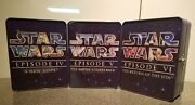 Lot Of 3 Original Star Wars Movie Collectors Tins 3 Wide Screen Dvds 1 Vhs Tape