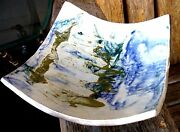 Vintage Art Pottery Footed Bowl Studio Modern Abstract Blue Green Signed Retro