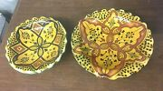 2 Colorful Crimped Edge Italian Decorative Pottery Bowls Unmarked