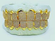 Custom Fit 925 Sterling Silver Fully Stones Cubic Cz Micro Pave Block Grillz
