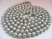 Longest 52 Natural 10mm Round Gray Pearl Necklace
