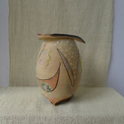 Lidded Jar Vase Colorful Abstract Studio Pottery 7-1/2 Inches