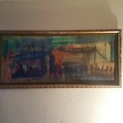 Large Vintage Pascal Cucaro 1915-2004 Oil On Canvas 19x 47 1/2 A-1 Cond
