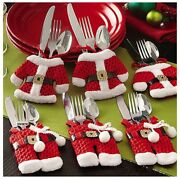 8 Pcs Christmas Holders Pockets Dinner Table Decorations Cutlery Bag