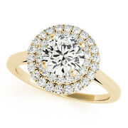 1.33 Ct Round Moissanite Forever One And Diamond Halo Engagement Ring 50l987yg