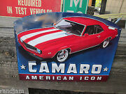 Red Chevrolet Camaro Cool Accessory Car Show Metal Display American Icon Chevy