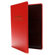60 Pockets Paper Money Collection Album Leather Bill Notes Book Holders Red