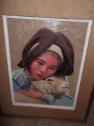 Oil On Board Painting Signed Dennis Robert Mcgranary Young Girl And Lamb Rare