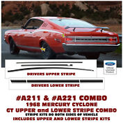 A211 And A221 1968 Mercury Cyclone Gt - Upper And Lower Side Stripe Kits - Factory