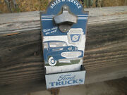 Ford Trucks Sales Serv Wall Mounted Bottle Opener With Bottle Catch Cap Box Cool