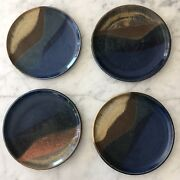 '98 Studio Art Pottery Plates Tricolor Cobalt and Earth Tones Signed Judy Conroy