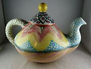 Mackenzie Childs Pottery Teapot - Colorful - Great Condition