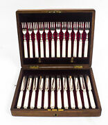 Antique Boxed Set 12 Pairs Silver And Mother Of Pearl Fruit Forks And Knives 1892
