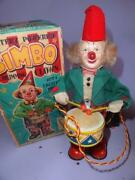 Japan Alps Bimbo The Drumming Clown Boxed Tin Toy Battery Operated Cragstan Co