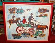 Original Folk Art Oil Painting Horses Buggy Wagon Wheels Signed Thick Paint