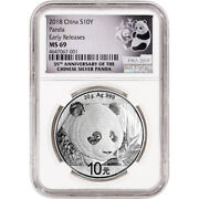 2018 China Silver Panda 30 G 10 Yuan Ngc Ms69 Early Releases 35th Anniversary