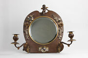 Antique, Victorian Meriden B Co Bronze, Plated Mirror With Candle Holders Rare.