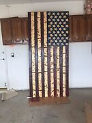 8ftx4ft Hand-carved Rustic American Wooden Flag Charred/burnt