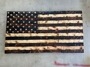 Large Hand-carved Rustic Charred American Wooden Flag