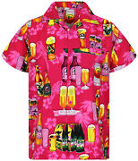 Funky Hawaiian Shirt Beer Bottle Pink Different Sizes
