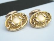 Antique Victorian Edwardian 14k Gold Cufflinks Emboss Rattle Snakes And Ivy Vines