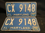 Old Vtg Antique Collectible 1971-75 Cx 9148 Maryland License Set Plates