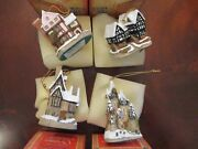 Set Of 4 David Winter Cottages Christmas Ornaments Mint In Original Boxes
