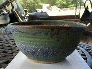 Vintage Hand Crafted Signed Stoneware Pottery Serving Bowl