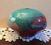 Vintage Studio Art Pottery Hand Thrown Weed Pot Vase Mid-Century Artist Signed