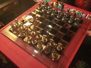 Michael Ricker Pewter Circus Chess Set With Custom Beehive Glass Cheesboard