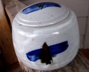 Vintage Mid Century Modern Art Pottery Lidded Jar Cobalt Abstract Pacific NW?