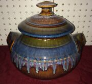 Bill Campbell Art Pottery Covered DIsh bue green Brown