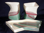 H/Made Studio Art Pottery 3pc.Cream/Sugar Pot &Tray Abstract Modern Sig.Ingrid