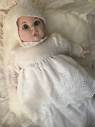Gerber Bisque Baby Doll 1981 White Christening Gown With Pillow Used Eyes Move