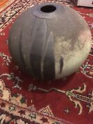 9x8 Raku Art Pottery Hand Made Studio Vase Jar Sphere Modern Clay Ceramic Signed