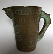 VINTAGE FRANKOMA POTTERY ADA CLAY PRAIRIE GREEN AZTEC ICE LIP PITCHER #7D