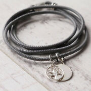 Girls Personalised 925 Sterling Silver Family Tree Of Life Soft Leather Bracelet