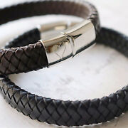 Mens Personalised Engraved Heart Leather Bracelet - Range Of Colours And Sizes