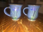 Handmade Pottery Mug Lot Of 2 Green & Blue Coffee Mug Cup Signed