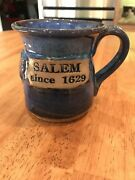 Salem, MA, Studio Art Pottery / Stoneware Mug, Hand Crafted - Signed. Blue