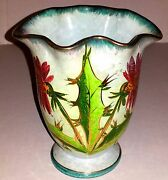Signed Vintage Dandelion Hand Painted Fluted Vase Made in Italy