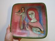 POLIA PILLIN PLATE PAINTING SCULPTURE CERAMIC MODERNIST CUBISM ABSTRACT BOWL VTG